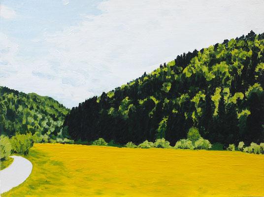 Regine Herzog, Gelbes Tal, Öl auf Holz, 30 x 39 cm, 2006