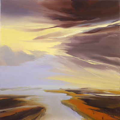 Sabine Schneider, Ferne, Acryl auf Leinwand, 100 x 100 cm, 2009