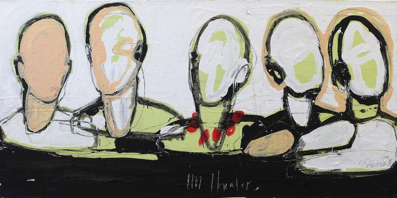 Claudia Meitert, Im Theater, Acryl auf Leinwand, 60 x 120 cm, 2014