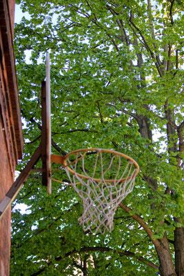 Der Basketballkorb auf dem Schulhof
