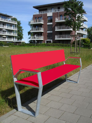 Jazz 02 HPL Sitzbank aus HPL und Stahl mit Armlehnen – Individualdekor und Farbbeschichtung möglich!