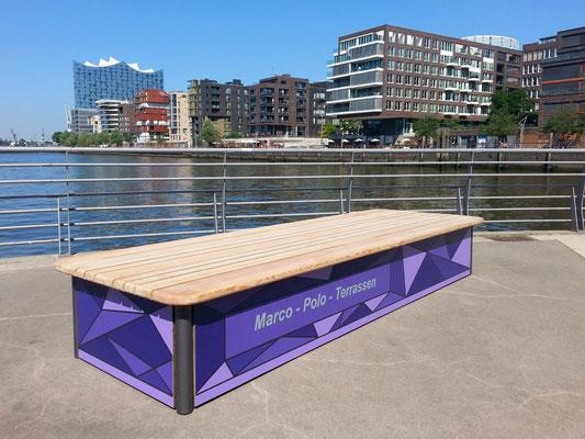 Chill HPL Sitzbank mit Holzauflage in Wunschmaß – Individualdekor für Seitenverkleidung möglich