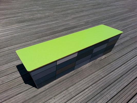 Bolero HPL Sitzbank / Sitzblock in Wunschmaß – Individualdekor für Deckplatte und Seitenverkleidung möglich!