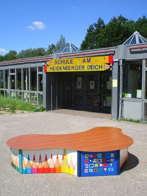 Cumulus HPL Spiel- und Sitzpodest in Wunschform (z.B. Wolke) - Individualdekor für Deckplatte und Seitenverkleidung möglich!