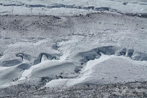 Frozen meandering landscape below Gornergrat