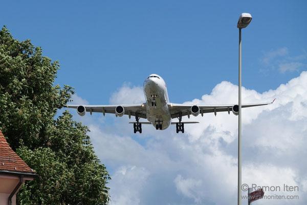 A340 of swiss approaching Zurich Airport