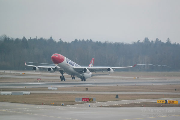 Start A340 of Edelweiss Zurich Airport