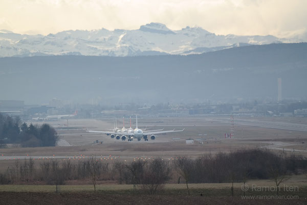 Lining up for take-off Zurich Airport