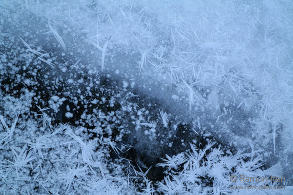 Ice with frost crystals