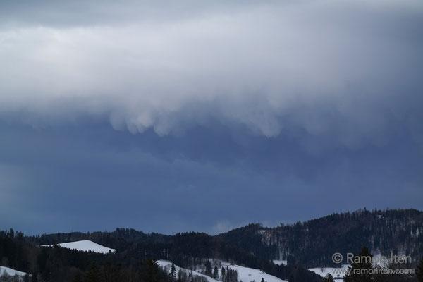 Mammatus clouds over Tösstal