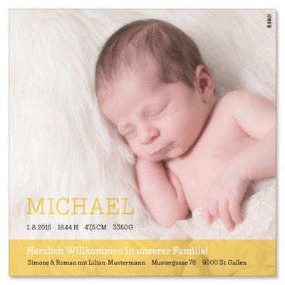 Michael: 1-seitig, 130×130 mm   Foto: © Nicole Ruffner-Racheter, www.babyaugenblick.ch