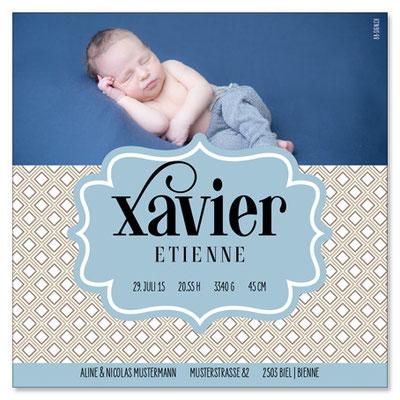 Xavier Etienne: 1-seitig, 130×130 mm   Foto: © Nicole Ruffner-Racheter, www.babyaugenblick.ch