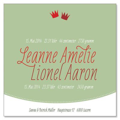Leanne & Lionel: 1-seitig, 130×130 mm   Passender Kreativstempel erhältlich