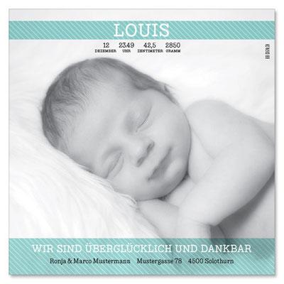 Louis: 1-seitig, 130×130 mm   Foto: © Nicole Ruffner-Racheter, www.babyaugenblick.ch