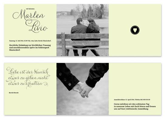 Marlen & Livio: Leporello, offen: 390×130 mm, geschlossen: 130×130 mm | Passender Kreativstempel erhältlich