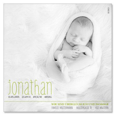 Jonathan: 1-seitig, 130×130 mm   Foto: © Nicole Ruffner-Racheter, www.babyaugenblick.ch