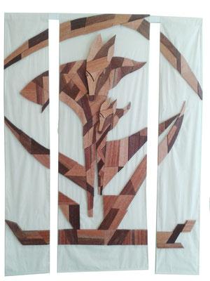 "Wandgestaltung ""Füchse"", 200 x 150 x 2 cm (HxBxT), Meranti auf Leinwand, Preis incl. MwSt. 1450,00 €"