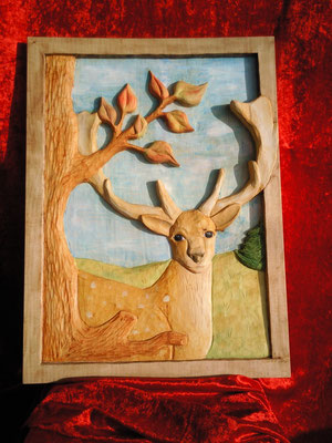 Damwild, 60.5 x 44,5 x 4 cm (HxBxT), Linde, farbig gefasst, Preis incl. MwSt. 320,00 €