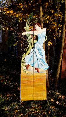 Tänzerin, ca. 190 cm hoch, Esche, farbig gefasst, Preis auf Anfrage