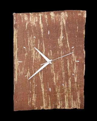 Uhr, ca. 37 x 25 x 1,5 cm (HxBxT), Eiche, farbig gefasst, Preis auf Anfrage