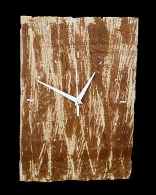 Uhr, ca. 37 x 25 x 1,5 cm (HxBxT), Eiche, farbig gefasst, Preis incl. MwSt. 85,00 €