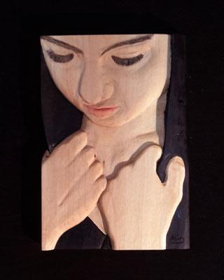 Frau in Gedanken, 30 x 20,8 x 2,5 cm (HxBxT), Linde, farbig gefasst, Preis auf Anfrage