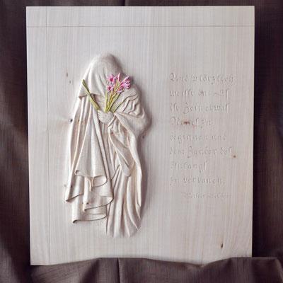 Abschied, 45 x 39 x 2,5 cm (HxBxT), Linde, teilweise farbig gefasst, gewachst, Preis auf Anfrage