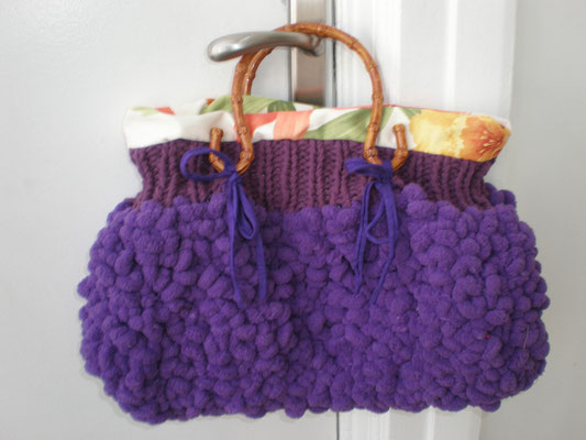 sac tricoté et doublé avec ances bambou