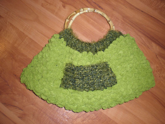 Sac tricoté au point mousse et doublé