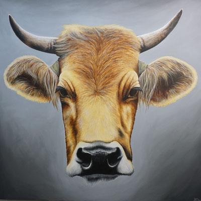 Kuh (2020, Acryl auf Leinwand, 100x100cm)