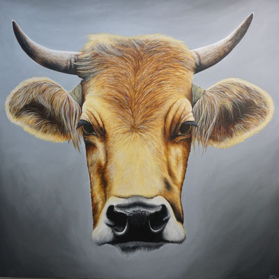 Bos Taurus (2020, Acryl auf Leinwand, 100x100cm) Auftragsarbeit
