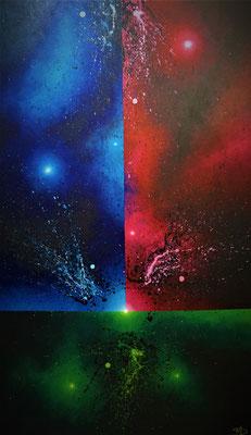 Tres Colores (2021, Acryl auf Leinwand, 80x135cm)