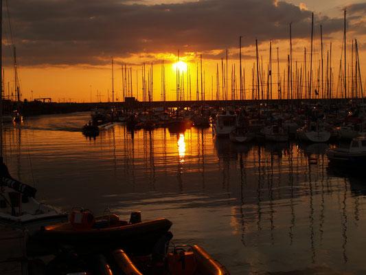 Sun setting over Dun Laoghaire