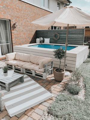 Poolumrandung DIY Pool garten bauen Baumarkt doityourself selbstistdiefrau Bauanleitung