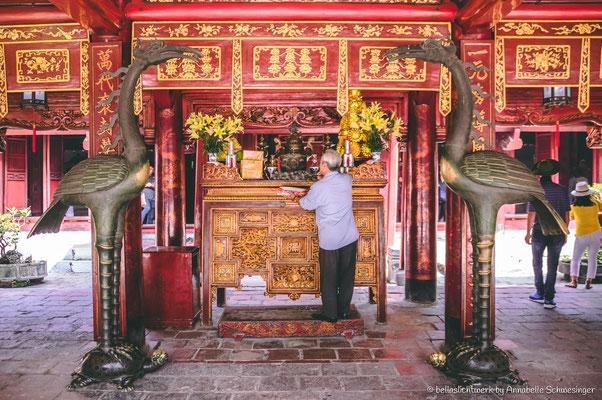 altar of Konfuzius at the temple of literature in Hanoi