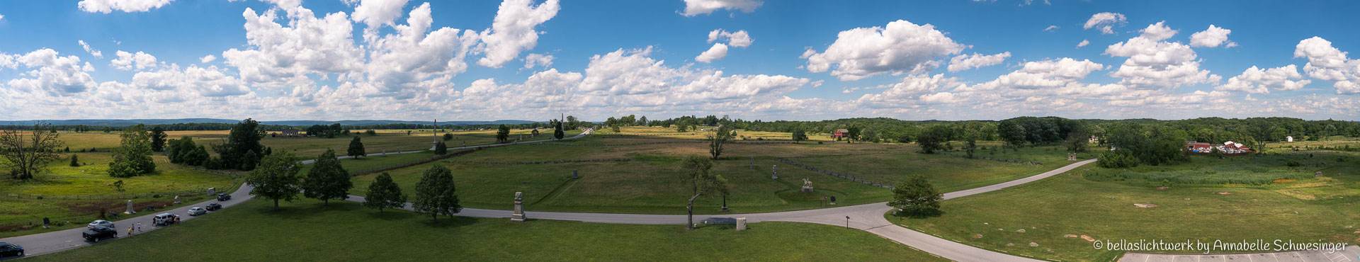 View vom Pennsylvania State Memorial im Gettysburg National Military Park aus