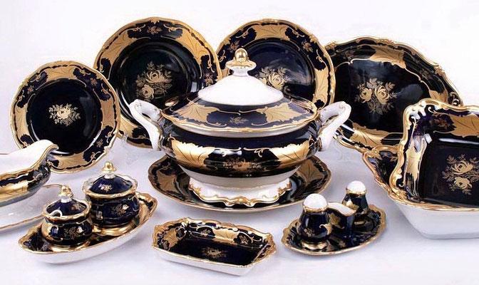 Немецкая Посуда Weimar Porzellan Кленовый Лист Кобальт,Интернет Магазин МагнитХаус