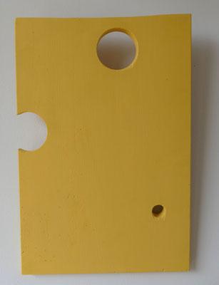 Wooden object no. 6 (Käseplatte), 2021, 29.5x44.5 cmx 2cm suspension, colour paint on pine wood shape