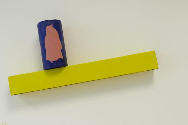 Experimental cardboard object, tube 8.5cmx 16. 5cm  cuboid ca. 5cm x30 cm, Industrial cardboard and acrylic paint