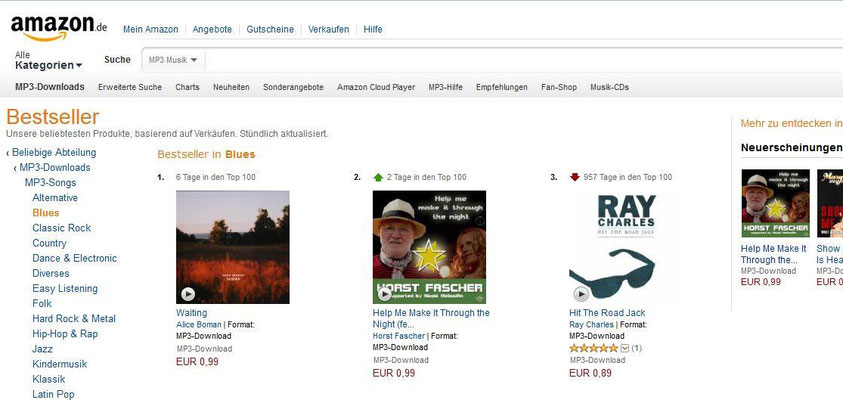 """Help me make it through the night"" - amazon download charts (Blues) # 2"