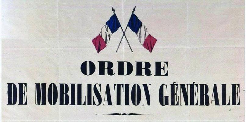 En-tête de l'affiche de mobilisation en France, le 1er Août 1914