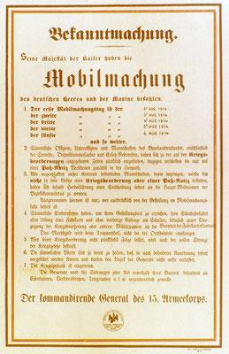 Affiche de mobilisation du côté des Allemands
