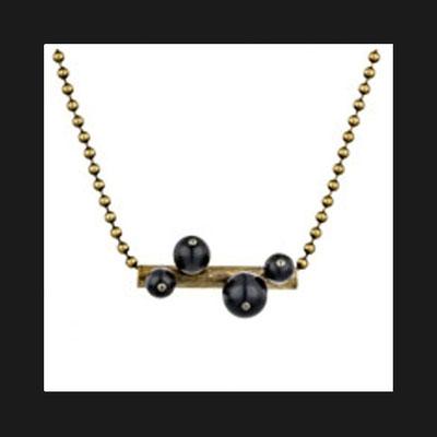 Pendentif + chaîne Tube, métallisation bronze, perles de verre