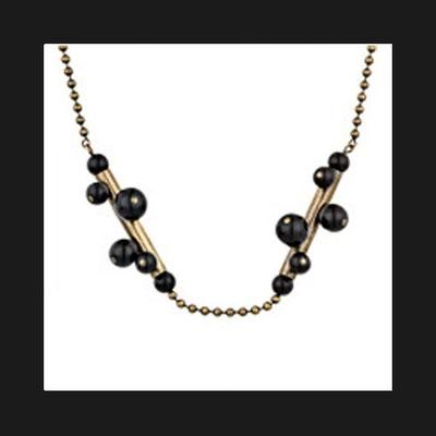 Collier Tube, métallisation bronze, perles de verre