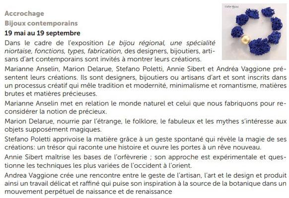 """Exhibition """"Accrochage/Bijoux contemporains"""" in Niort"""