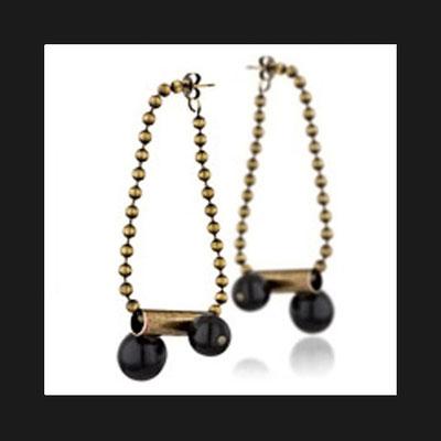 Boucles d'oreilles percées Tube, métallisation bronze, perles de verre