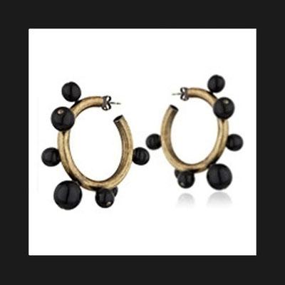 Boucles d'oreilles créoles Tube, métallisation bronze, perles de verre