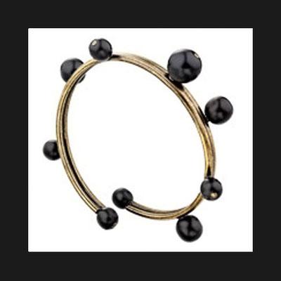 Bracelet jonc Tube, métallisation bronze, perles de verre, Ø60mm