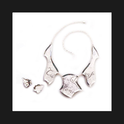 """Collection """"Casanova Ecriture"""" -2001 Necklace and earrings. Venetian mirrors hand-engraved and -bevelled. Silver chain."""