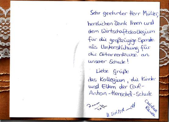 Dankschreiben der Carl-Anton-Henschel-Schule Kassel